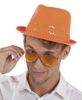 Popstar hoed oranje met pailletten
