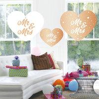 Hangdecoratie hart 'Mr & Mrs' 5 stuks