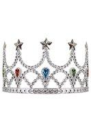 Tiara met kam prinses zilver met gekleurde steentjes