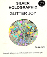 Glitters grof zilver 5 gram