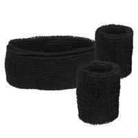 Zweetbandjes set zwart: hoofdband en polsbanden