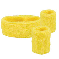 Zweetbandjes set geel: hoofdband en polsbanden