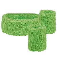 Zweetbandjes set groen: hoofdband en polsbanden