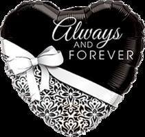 Folieballon hart huwelijk 'Always and Forever'