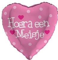 Folieballon hartvorm 'Hoera een meisje'