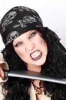 Piraten bandana zwart met doodshoofd en botten