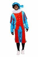 Volwassen luxe Zwarte Piet kostuum velours de panne turquoise-rood