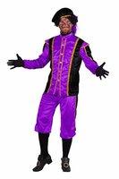 Zwarte piet kostuum Tormolinos paars-zwart
