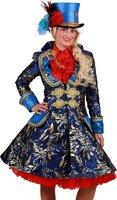 Carnavalsjas dames Brokaat blauw-goud