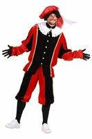 Pieten kostuum Luxe velours de panne rood-zwart