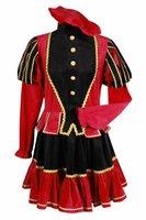 Pieten kostuum dames luxe polyester fluweel rood-zwart