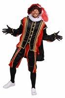 Pieten kostuum velours de panne polyester fluweel rood-zwart