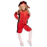 Kinder Pieten kostuum velours de panne rood-zwart
