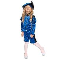 Kinder Pieten kostuum velours de panne blauw-zwart