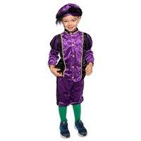 Kinder Pieten kostuum velours de panne paars-zwart