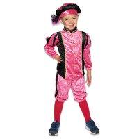 Kinder Pieten kostuum velours de panne roze-zwart
