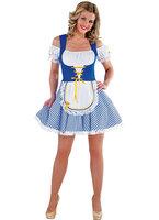 Dirndl jurk blauw-wit geruit met schortje + GRATIS KOUSEN