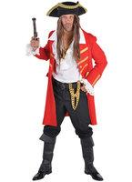 Piraten jas rood met goudgalon afgezet.