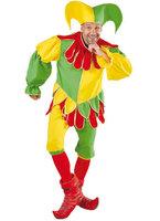 Narren kostuum geel groen 3 delig vest, broek en muts