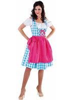Dirndl jurk 3-delig blauw-wit + GRATIS KOUSEN