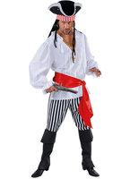 Piraat heren 3 delig: blouse, broek strepen zwart-wit en rode sjerp.