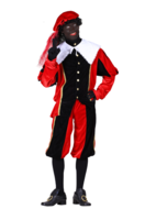 Volwassen Luxe Zwarte Piet kostuum velours de panne rood-zwart