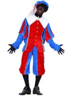 Volwassen Luxe Zwarte Piet kostuum velours de panne blauw-rood