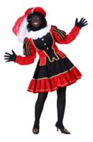Zwarte Piet luxe kostuum dames polyester fluweel rood-zwart