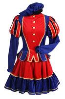 Pieten kostuum dames luxe polyester fluweel rood-blauw