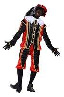 Zwarte Piet kostuum velours de panne polyester fluweel rood zwart