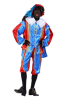 Zwarte Piet Kostuum velours de panne polyester fluweel rood blauw