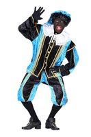 Zwarte Piet kostuum velours de panne polyester fluweel turquoise-zwart