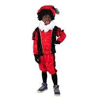 Kinder Zwarte Piet kostuum velours de panne rood-zwart