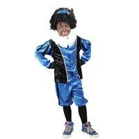 Kinder Zwarte Piet kostuum velours de panne blauw-zwart