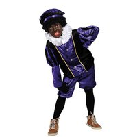 Kinder Zwarte Piet kostuum velours de panne paars-zwart