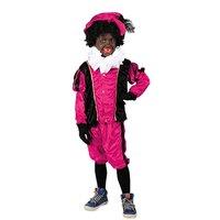 Kinder Zwarte Piet kostuum velours de panne roze-zwart.