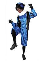 Zwarte Piet kostuum velours de panne blauw-zwart