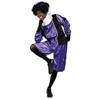 Meisjes - dames  Zwarte Piet kostuum velours de panne paars-zwart