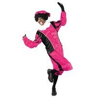 Zwarte Piet kostuum velours de panne roze-zwart