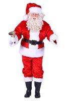 Kerstman kostuum pluche luxe 4 delig jas, broek, muts, ceintuur