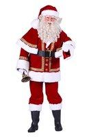 Kerstman kostuum extra luxe velours katoen fluweel 4 delig jas, broek, muts, ceintuur