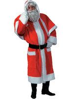 Kerstman pluche mantel met kraag, muts en riem one size