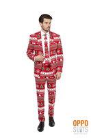 Opposuits Winter Wonderland rood/wit  3 delig kostuum: colbert, broek en das