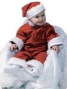Kerst babykostuum: model overall met muts kwaliteit trevira OP=OP