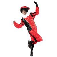 Zwarte Piet kostuum velours de panne rood-zwart.