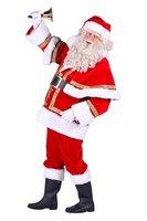 Kerstman kostuum luxe velours polyester fluweel luxe 4 delig
