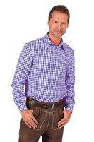 Overhemd blauw-wit geruit 100% polyester