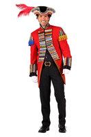Stijlvolle carnavalsslipjas Ribbon Chaos rood, gevoerd met zakken en met epauletten.