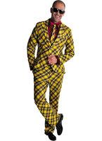 Magic kostuum 3 delig geel met zwarte ruit: colbert, broek en das.