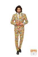 Opposuits Confetteroni kleurrijk 3 delig kostuum: broek, colbert gevoerd en das.